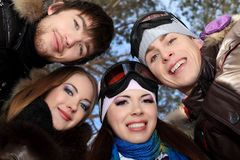 Friends winter royalty free stock photography