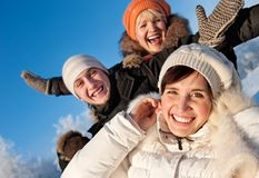 Friends on a winter background royalty free stock images