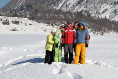 Friends in winter mountain Stock Photos