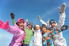 Friends on winter resort Stock Photo