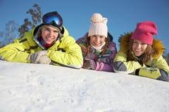 Friends on winter resort Stock Photos