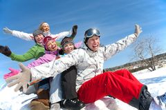 Friends on winter vacation Stock Images