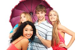 Friends With Umbrella Royalty Free Stock Photography
