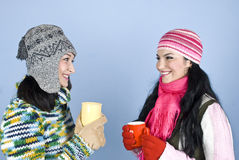 Friends woman conversation and laughing Stock Images