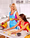 Friends women  baking cookies in oven Royalty Free Stock Photography