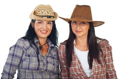 Friends women with cowboy's hats Royalty Free Stock Photos