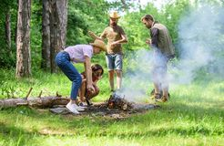 Friends working as team to keep bonfire. Company camping forest prepare bonfire for picnic. Add some wood to fire. Company friends or family making bonfire in stock image
