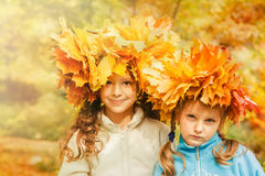 Friends in a yellow autumnal park Royalty Free Stock Image