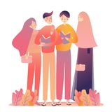Friends young man women reading books. Standing Learning together. Islam muslim wearing head-scarf veil. vector illustration