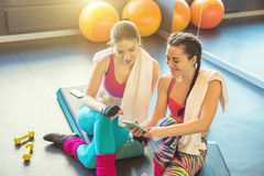 Friends young woman Communicate after training in a sports club. royalty free stock photography
