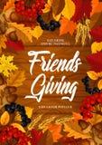 Friendsgiving-Potluckabendessen, Danksagungsthema lizenzfreie abbildung