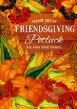 Friendsgivings potluck feest, Dankzeggingsthema royalty-vrije illustratie