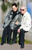 Friendship. Portrait of a family - old man in sunglasses and his wife Stock Photos