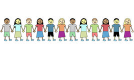 Friendship. Happy and diverse kids holding hands Royalty Free Stock Photos