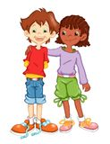 Friendship. Illustration, colored with photoshop that represents the friendship among two children of different countries stock illustration