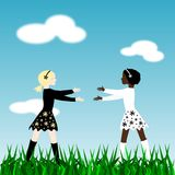 Friendship. Illustration of two girls, one white and one black, walking to hug each other Stock Image