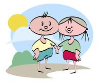 Friendship. Children friendship cartoon illustration royalty free illustration
