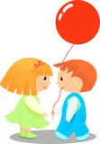 Friendship. Boy gives girl a balloon Royalty Free Stock Images