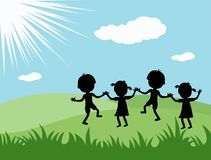 Friendship. Concept of friendship with children holding hands Vector Illustration