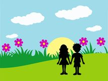 Friendship. Concept of friendship with boy girl holding hands Vector Illustration