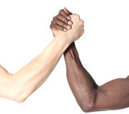 Friendship. Black and white males shaking hands Royalty Free Stock Photo