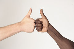 Friendship. Black and white males shaking hands Royalty Free Stock Images