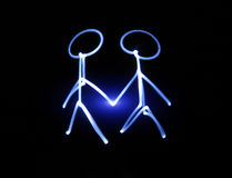 Friendship. Simple sketch drawing with flashlight in darkness Royalty Free Stock Photos