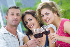 Friendship. Portrait of young happy attractive people having some wine Stock Photo