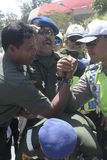 friendship with arm wrestle between the police and the army in the stadium held their solo Central Java Royalty Free Stock Images