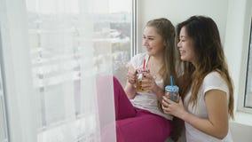 Friends leisure girls communication teen lifestyle. Friendship bff communication. girls chatting drinking beverage. teenage mates lifestyle leisure stock footage