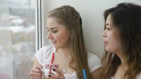 Friend bff leisure girl talk drink mates lifestyle. Friendship bff mates communication conversation. girls talking drinking beverage. teenage mates lifestyle stock footage