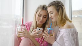 Friend bff leisure girl talk drink mates lifestyle. Friendship bff mates communication conversation. girls talking drinking coffee and browsing internet on Royalty Free Stock Photography