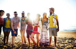 Friendship Bonding Relaxation Summer Beach Happiness Concept Royalty Free Stock Photos