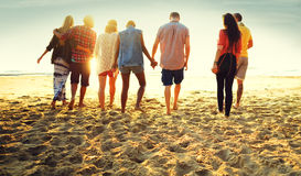 Friendship Bonding Relaxation Summer Beach Happiness Concept Stock Image
