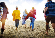 Friendship Bonding Relaxation Summer Beach Happiness Concept.  royalty free stock photos