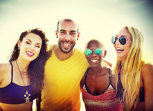 Friendship Bonding Relaxation Summer Beach Happiness Concept Royalty Free Stock Images