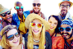 Friendship Bonding Relaxation Summer Beach Happiness Concept Royalty Free Stock Photography