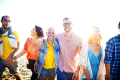 Friendship Bonding Relaxation Summer Beach Happiness Concept.  Royalty Free Stock Photography