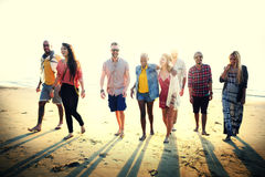 Friendship Bonding Relaxation Summer Beach Happiness Concept.  Royalty Free Stock Image