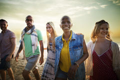 Friendship Bonding Relaxation Summer Beach Happiness Concept stock photography