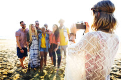 Friendship Bonding Relaxation Summer Beach Happiness Concept Royalty Free Stock Photo