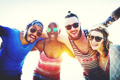 Friendship Bonding Relaxation Summer Beach Happiness Concept.  Royalty Free Stock Photo