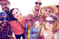 Friendship Bonding Relaxation Summer Beach Happiness Concept.  Stock Photo