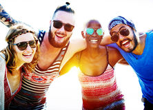 Friendship Bonding Relaxation Summer Beach Happiness Concept.  Stock Image