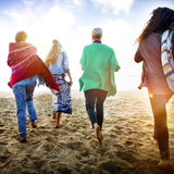 Friendship Bonding Relaxation Summer Beach Happiness Concept.  Stock Images