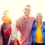 Friendship Bonding Relaxation Summer Beach Happiness Concept.  Royalty Free Stock Images