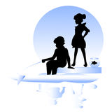 Friendship. Boy, girl fishing. Silhouettes boy and girl.  Happy children and a fish Stock Images