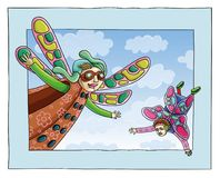 Friendship. Cartoon characters. Vector illustration. Fairies flying in the sky. Friendly Cartoon personages card. Freedom, wind Stock Photo