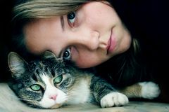 Friendship with cat stock images