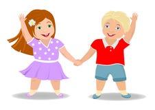 Children`s friendship, boy and girl stock illustration